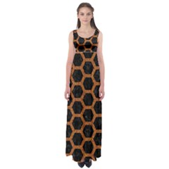HEXAGON2 BLACK MARBLE & RUSTED METAL (R) Empire Waist Maxi Dress