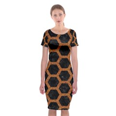 HEXAGON2 BLACK MARBLE & RUSTED METAL (R) Classic Short Sleeve Midi Dress