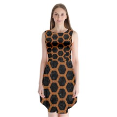 HEXAGON2 BLACK MARBLE & RUSTED METAL (R) Sleeveless Chiffon Dress