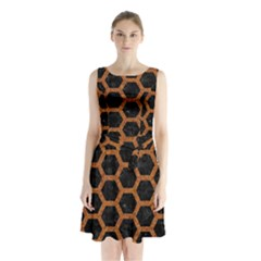 HEXAGON2 BLACK MARBLE & RUSTED METAL (R) Sleeveless Waist Tie Chiffon Dress