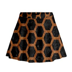 HEXAGON2 BLACK MARBLE & RUSTED METAL (R) Mini Flare Skirt