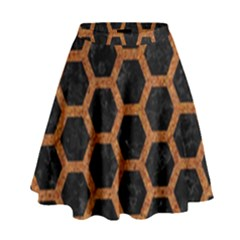 HEXAGON2 BLACK MARBLE & RUSTED METAL (R) High Waist Skirt