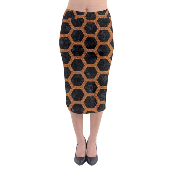 HEXAGON2 BLACK MARBLE & RUSTED METAL (R) Midi Pencil Skirt