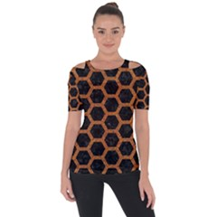 HEXAGON2 BLACK MARBLE & RUSTED METAL (R) Short Sleeve Top