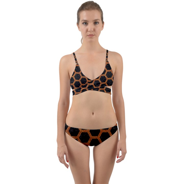 HEXAGON2 BLACK MARBLE & RUSTED METAL (R) Wrap Around Bikini Set