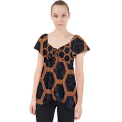 Hexagon2 Black Marble & Rusted Metal (r) Lace Front Dolly Top