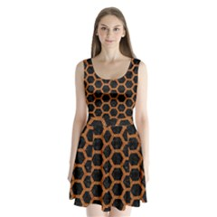 HEXAGON2 BLACK MARBLE & RUSTED METAL (R) Split Back Mini Dress