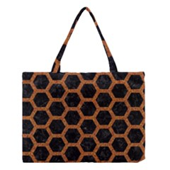 Hexagon2 Black Marble & Rusted Metal (r) Medium Tote Bag by trendistuff