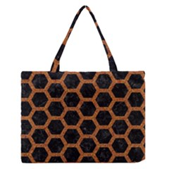 Hexagon2 Black Marble & Rusted Metal (r) Zipper Medium Tote Bag by trendistuff