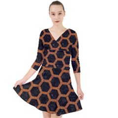 HEXAGON2 BLACK MARBLE & RUSTED METAL (R) Quarter Sleeve Front Wrap Dress