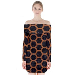 HEXAGON2 BLACK MARBLE & RUSTED METAL (R) Long Sleeve Off Shoulder Dress
