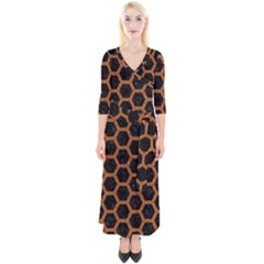 HEXAGON2 BLACK MARBLE & RUSTED METAL (R) Quarter Sleeve Wrap Maxi Dress