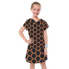 HEXAGON2 BLACK MARBLE & RUSTED METAL (R) Kids  Drop Waist Dress