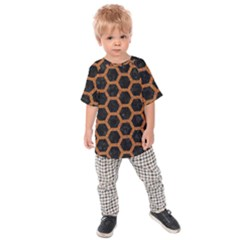 HEXAGON2 BLACK MARBLE & RUSTED METAL (R) Kids Raglan Tee