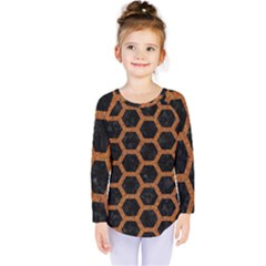 HEXAGON2 BLACK MARBLE & RUSTED METAL (R) Kids  Long Sleeve Tee