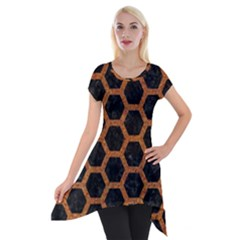 HEXAGON2 BLACK MARBLE & RUSTED METAL (R) Short Sleeve Side Drop Tunic