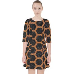 HEXAGON2 BLACK MARBLE & RUSTED METAL (R) Pocket Dress