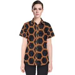 HEXAGON2 BLACK MARBLE & RUSTED METAL (R) Women s Short Sleeve Shirt