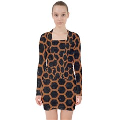 HEXAGON2 BLACK MARBLE & RUSTED METAL (R) V-neck Bodycon Long Sleeve Dress