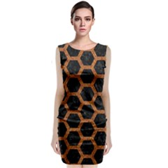 HEXAGON2 BLACK MARBLE & RUSTED METAL (R) Sleeveless Velvet Midi Dress