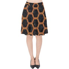 HEXAGON2 BLACK MARBLE & RUSTED METAL (R) Velvet High Waist Skirt