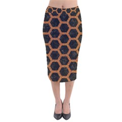 HEXAGON2 BLACK MARBLE & RUSTED METAL (R) Velvet Midi Pencil Skirt