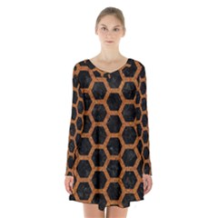 HEXAGON2 BLACK MARBLE & RUSTED METAL (R) Long Sleeve Velvet V-neck Dress