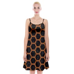 HEXAGON2 BLACK MARBLE & RUSTED METAL (R) Spaghetti Strap Velvet Dress