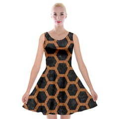 HEXAGON2 BLACK MARBLE & RUSTED METAL (R) Velvet Skater Dress