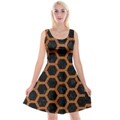 HEXAGON2 BLACK MARBLE & RUSTED METAL (R) Reversible Velvet Sleeveless Dress