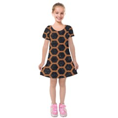 HEXAGON2 BLACK MARBLE & RUSTED METAL (R) Kids  Short Sleeve Velvet Dress