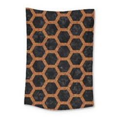 HEXAGON2 BLACK MARBLE & RUSTED METAL (R) Small Tapestry