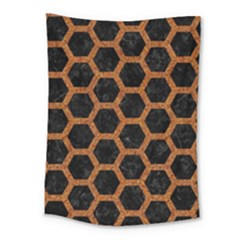 HEXAGON2 BLACK MARBLE & RUSTED METAL (R) Medium Tapestry