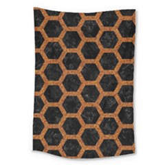 Hexagon2 Black Marble & Rusted Metal (r) Large Tapestry by trendistuff