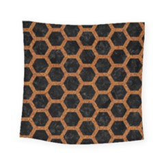 HEXAGON2 BLACK MARBLE & RUSTED METAL (R) Square Tapestry (Small)