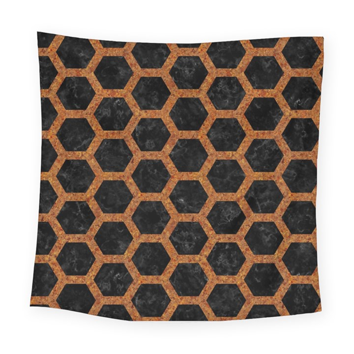 HEXAGON2 BLACK MARBLE & RUSTED METAL (R) Square Tapestry (Large)