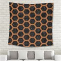 HEXAGON2 BLACK MARBLE & RUSTED METAL (R) Square Tapestry (Large) View2