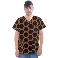 HEXAGON2 BLACK MARBLE & RUSTED METAL (R) Men s V-Neck Scrub Top