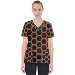 HEXAGON2 BLACK MARBLE & RUSTED METAL (R) Scrub Top