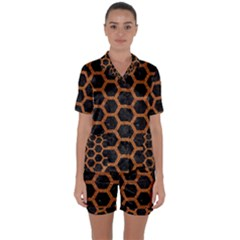 HEXAGON2 BLACK MARBLE & RUSTED METAL (R) Satin Short Sleeve Pyjamas Set