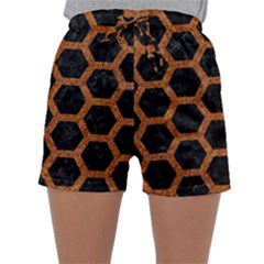HEXAGON2 BLACK MARBLE & RUSTED METAL (R) Sleepwear Shorts