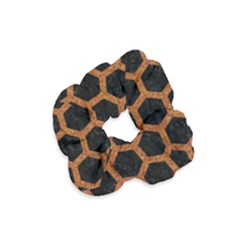 HEXAGON2 BLACK MARBLE & RUSTED METAL (R) Velvet Scrunchie