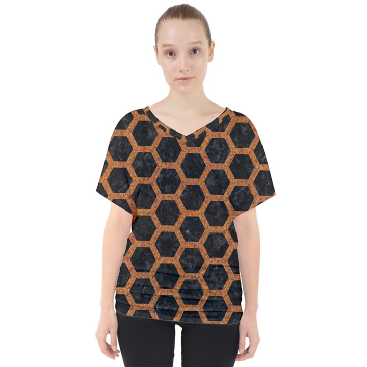 HEXAGON2 BLACK MARBLE & RUSTED METAL (R) V-Neck Dolman Drape Top