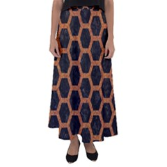 Hexagon2 Black Marble & Rusted Metal (r) Flared Maxi Skirt by trendistuff