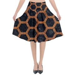 HEXAGON2 BLACK MARBLE & RUSTED METAL (R) Flared Midi Skirt