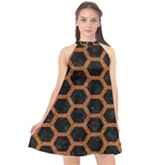 HEXAGON2 BLACK MARBLE & RUSTED METAL (R) Halter Neckline Chiffon Dress