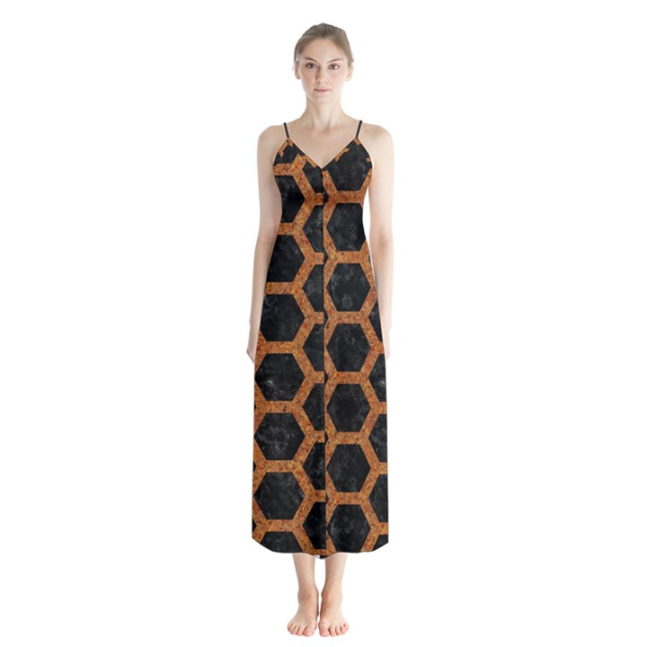 HEXAGON2 BLACK MARBLE & RUSTED METAL (R) Button Up Chiffon Maxi Dress