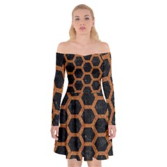 HEXAGON2 BLACK MARBLE & RUSTED METAL (R) Off Shoulder Skater Dress