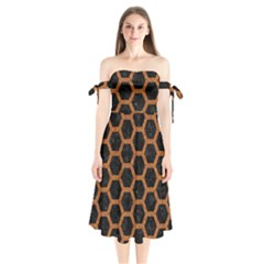 HEXAGON2 BLACK MARBLE & RUSTED METAL (R) Shoulder Tie Bardot Midi Dress