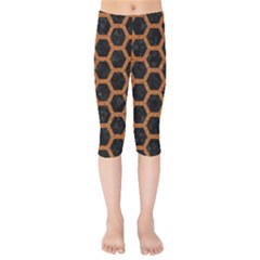 HEXAGON2 BLACK MARBLE & RUSTED METAL (R) Kids  Capri Leggings